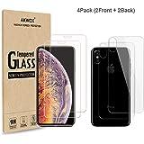 (4パック)iPhone Xs Max用のバックカバー、Akwox 9H強化ガラス製のフロントスクリーンプロテクターとバックスクリーンプロテクター付きのiPhone Xs Maxスクリーンプロテクターとの互換性