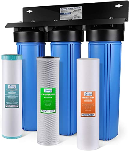 iSpring WGB32BM 3-Stage Whole House Water Filtration System w 20-Inch Big Blue Sediment, Carbon Block, and Iron Manganese Reducing Filter