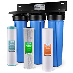 iSpring WGB32BM 3-Stage Whole House Water Filtration System w/ 20-Inch Big Blue Sediment, Carbon Block, and Iron & Manganese Reducing Filter …