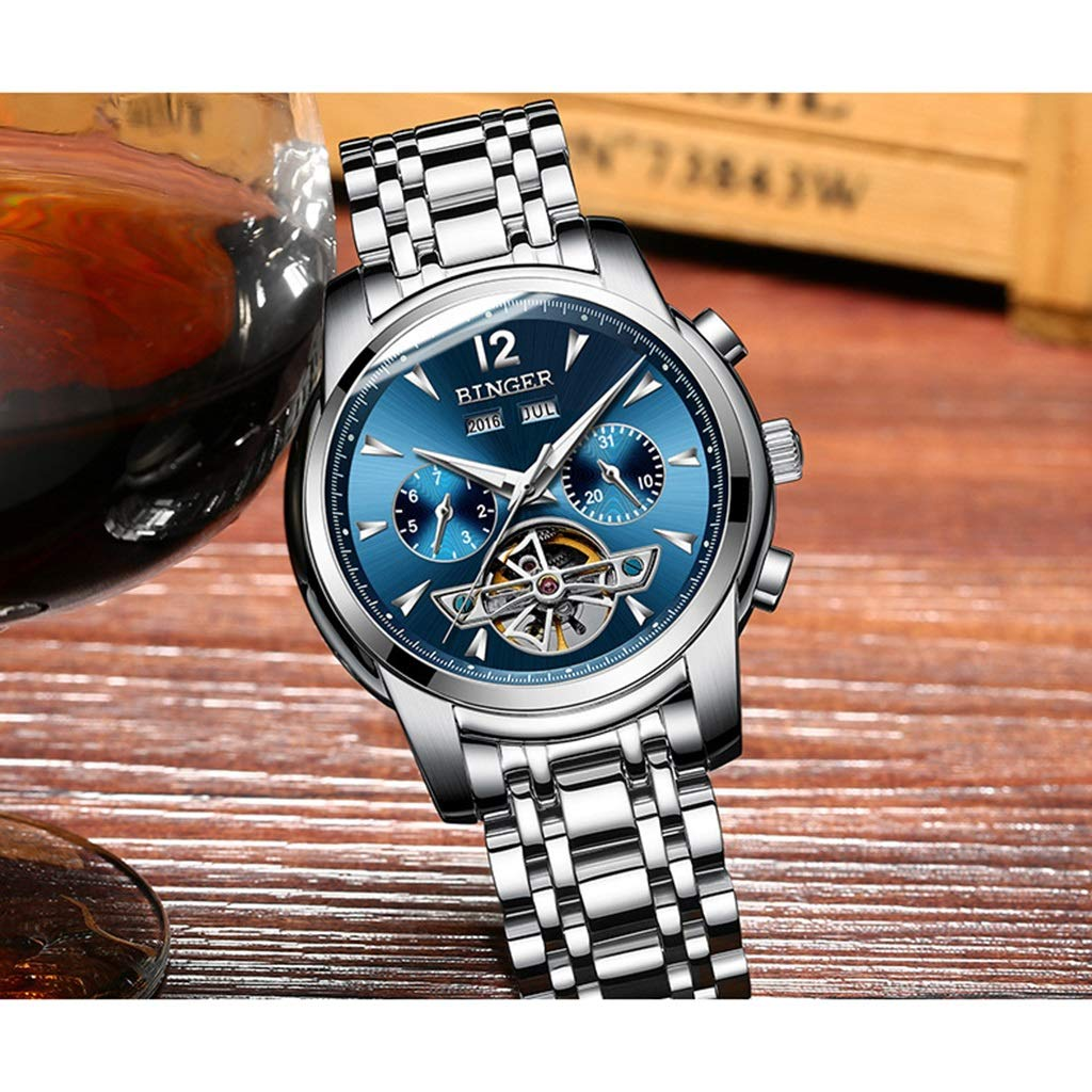 BINGER herrklocka, mode automatiska mekaniska klockor multifunktion vattenresistens armbandsur affärsstil med kalenderfunktion 8608M-1 Silver Blå