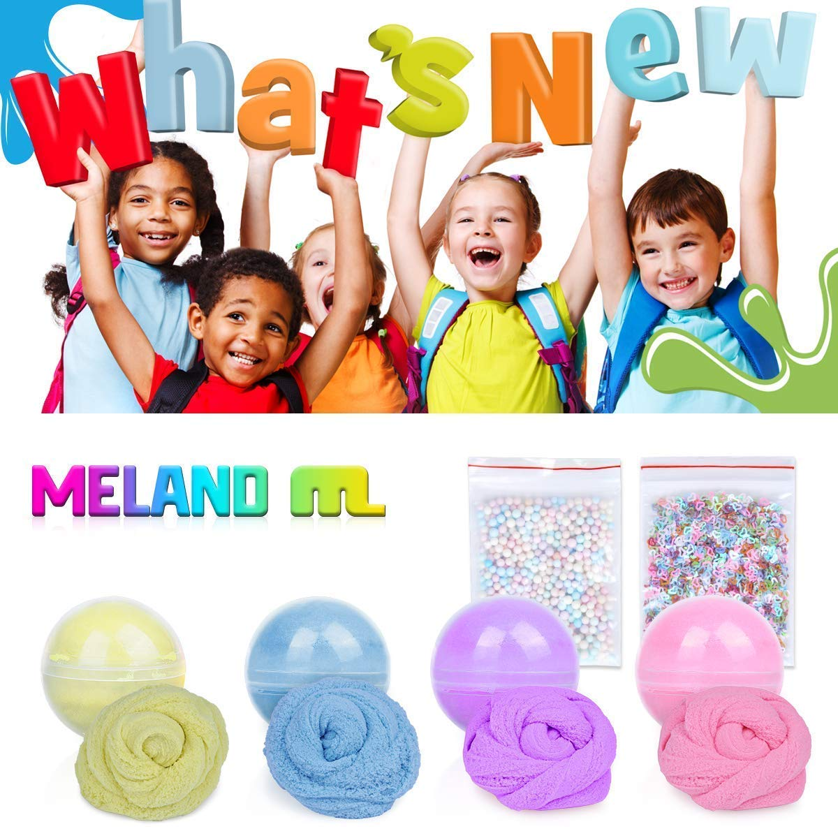 Meland Cloud Slime 10.5 OZ Snow Fluffy Cloud Slime Cotton Slime for Kids and Adults - 4 Colors (Blue, Purple, Yellow, Pink) by Meland (Image #7)
