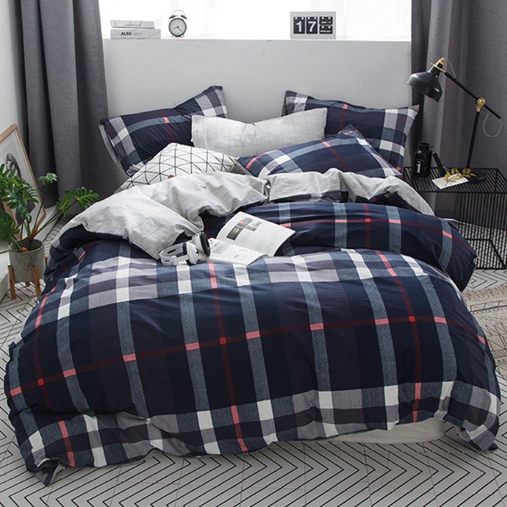 CLOTHKNOW Boys Duvet Cover Sets Full/Queen Navy Blue Plaid Men Bedding 100 Cotton 3 Pieces - 1 Duvet Cover with Zipper Closure 2 Envelope Pillowcases Standard