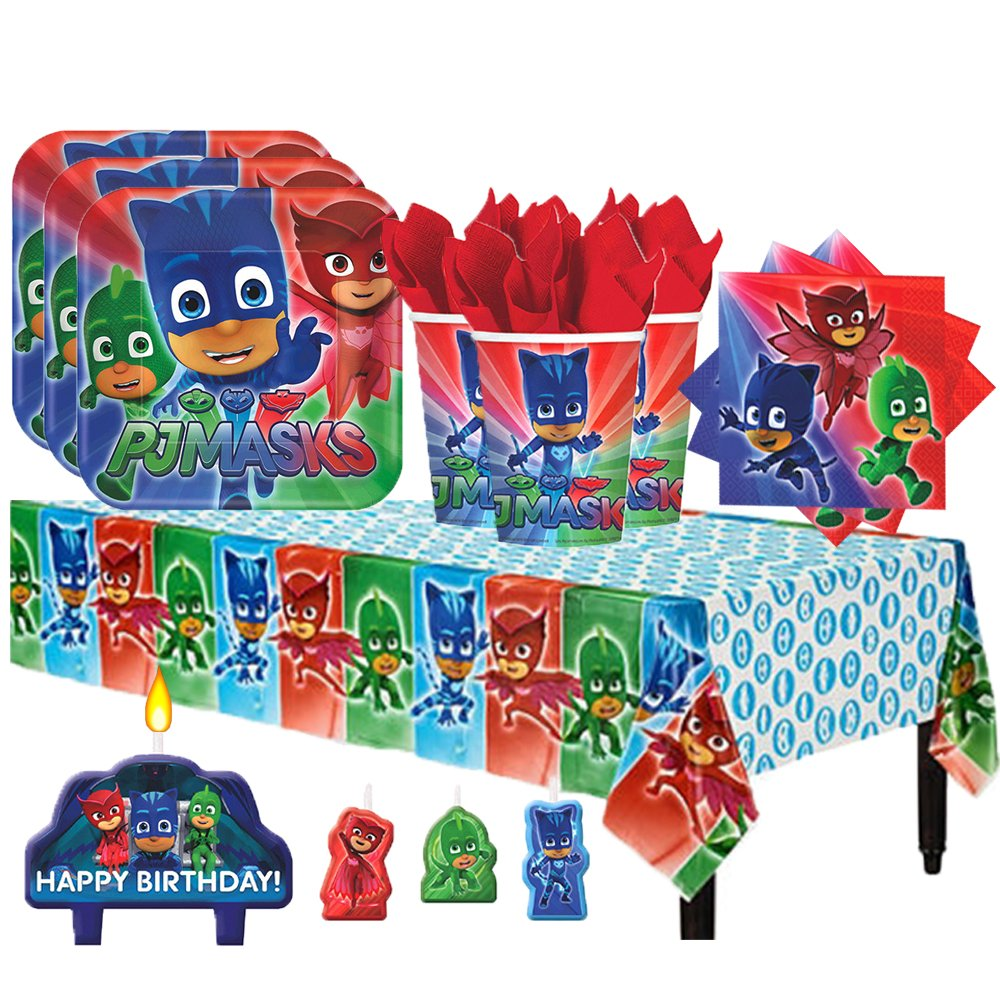 Another Dream PJ Masks Birthday Party Pack for 16 with Plates, Napkins, Cups, Tablecover, and Candles
