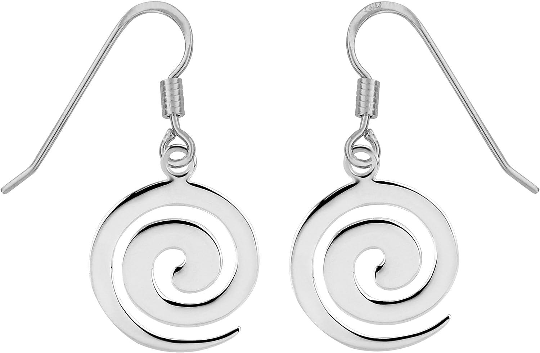 Swirly Silver Earrings Chain Dangle