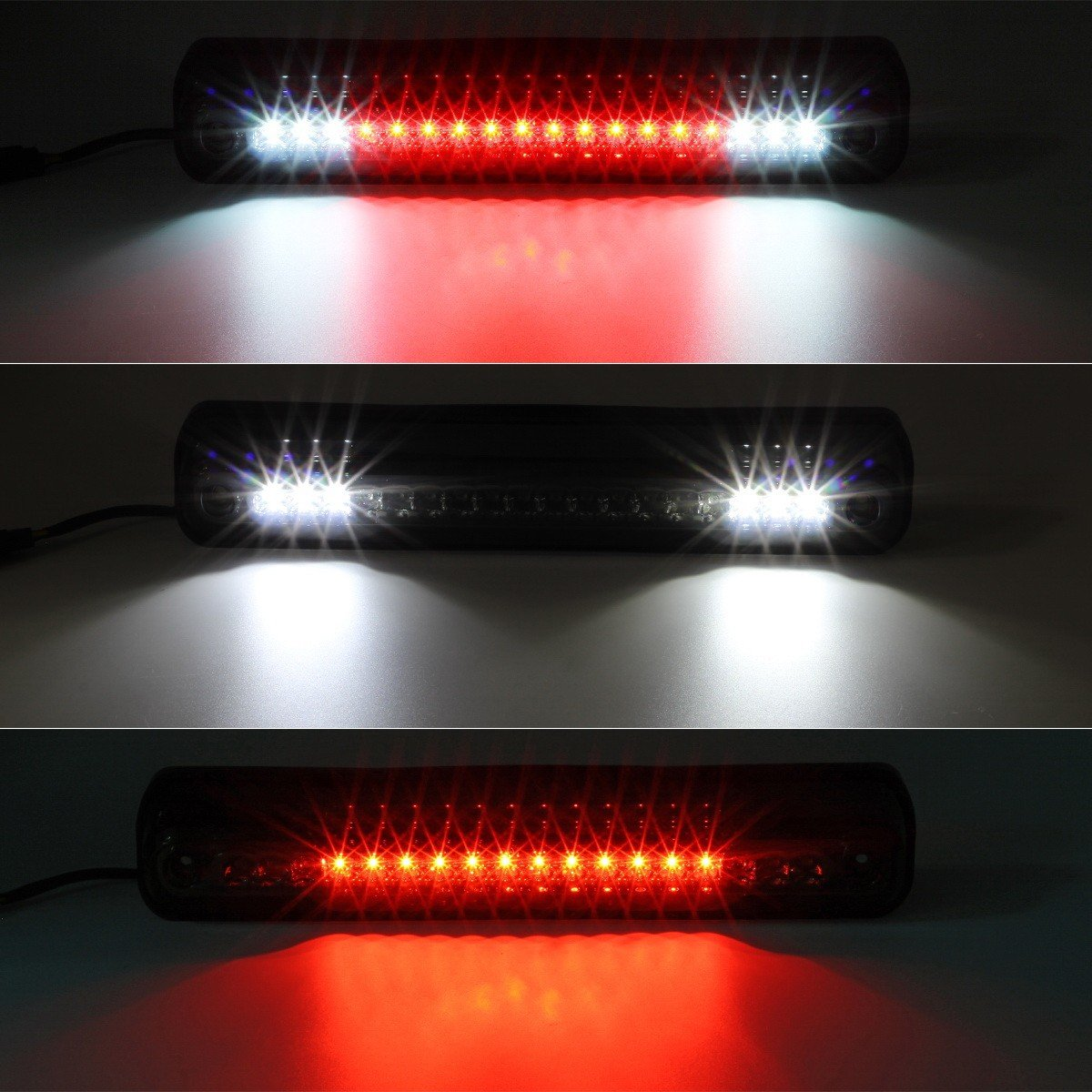 Partsam Third Brake Light Replacement For 1994 1999 Gmc Wiring Chevy C K 1500 2500 3500 Red White Led Smoke Lens High Mount 3rd Rear Tail
