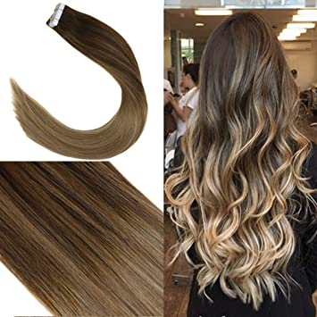 Youngsee 14inch Remy Tape in Hair Extensions Balayage Dark Brown to Golden  Brown Highlight with
