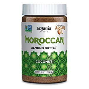 Almond Butter Coconut with Superfood Organic Edible Argan Oil | Vegan, Gluten-Free, Non-GMO, Palm Oil-Free, Dairy-Free, Kosher, Keto Friendly, No Peanuts & Low Carb. 16 Ounce Jar by Argania Butter