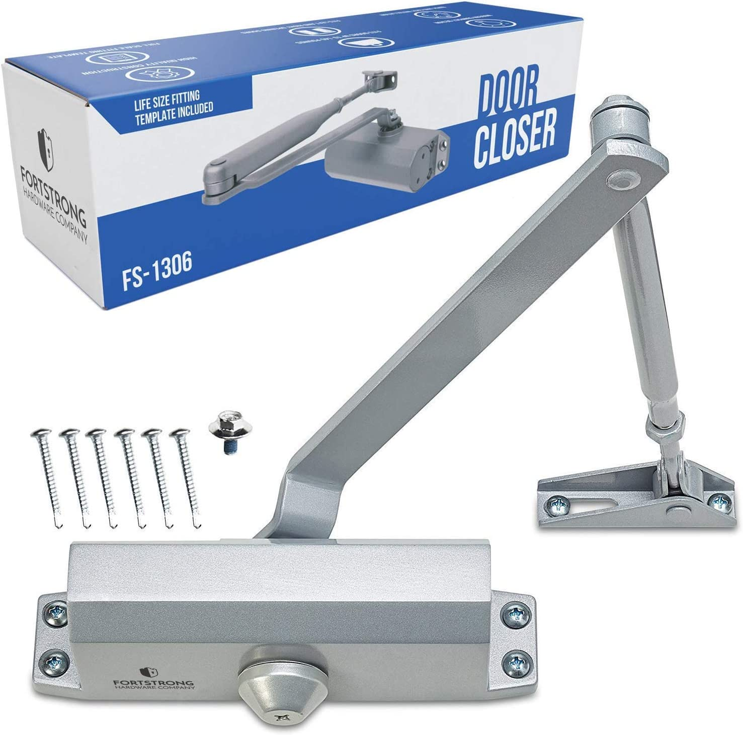 Surface Mounted Door Closer Fire Tested Spring Loaded Auto Adjustable Closing