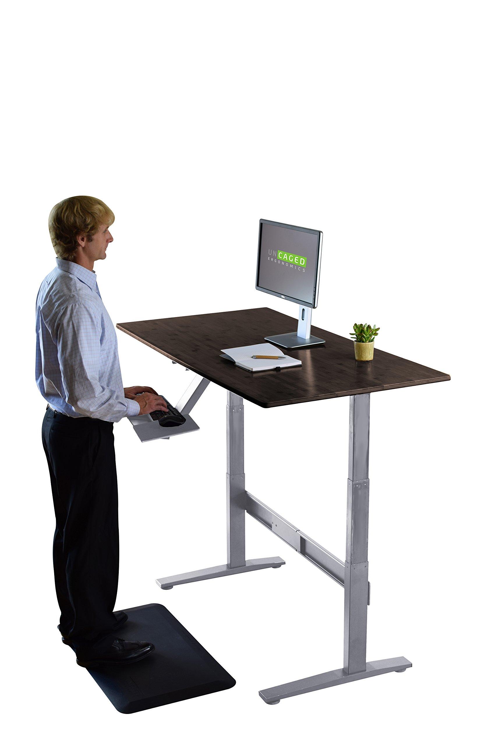 RISE UP Electric Adjustable Height Standing Desk + Beautiful Black Bamboo Desktop| Memory Keypad| 2 Motors| Affordable Ergonomic Sit Stand Office Desk by Uncaged Ergonomics (Image #2)