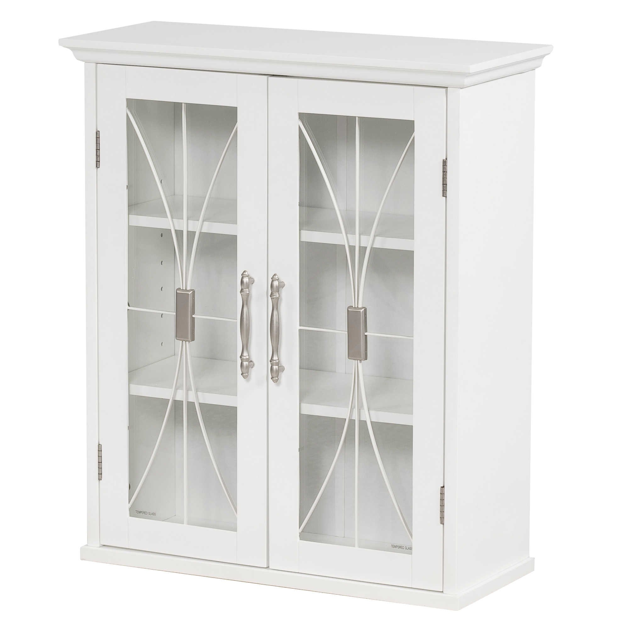 Elegant Home Fashions Collection Traditional Style 2-Door Shelved Wall Cabinet with Glass-Paneled Doors in White