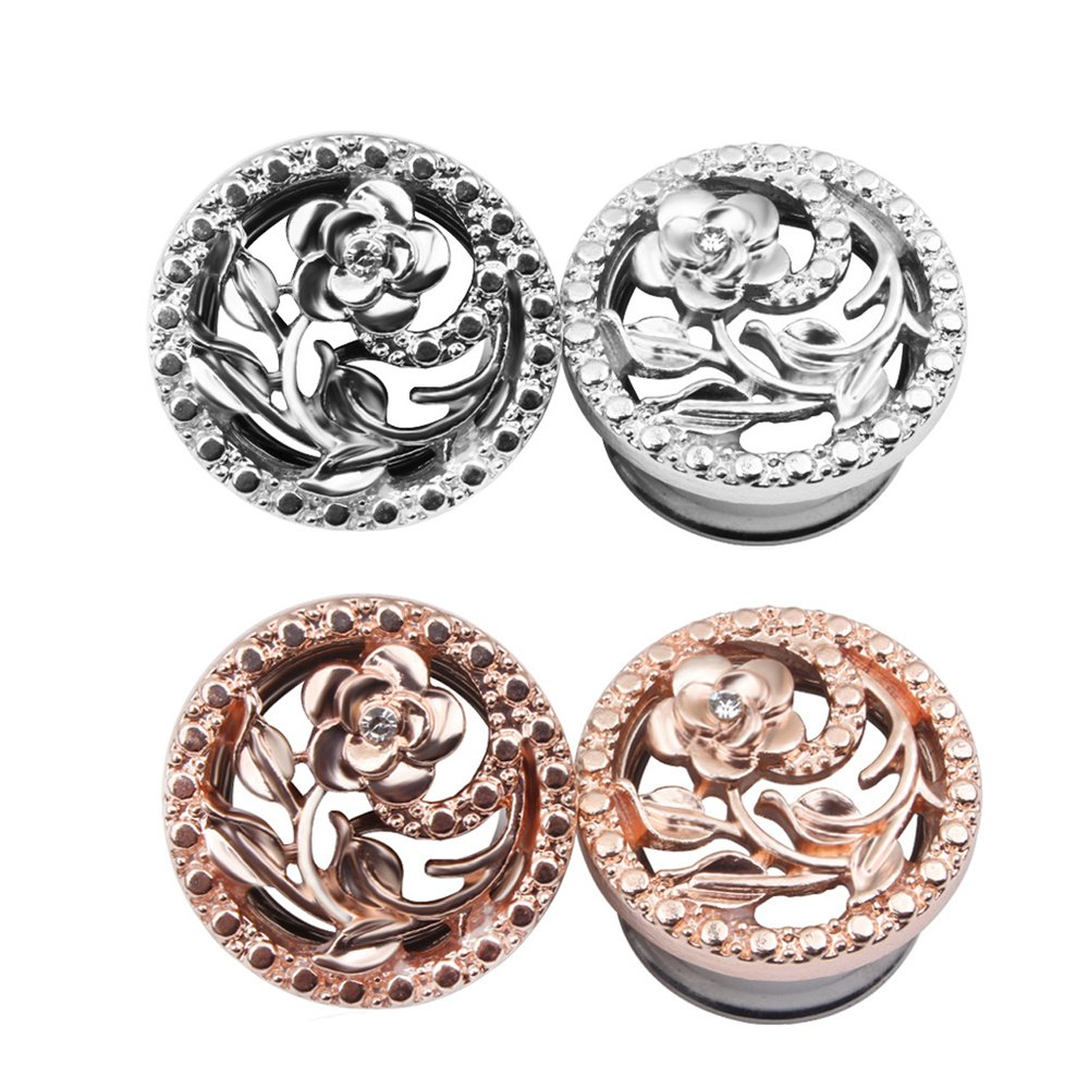 BODYA Unisex Stainless Steel Ear Tunnels Round Plugs with Hollow Flower Silver and Gold Piercing Jewelry, Two Pairs/4Pcs (Gauage:2g(8mm))