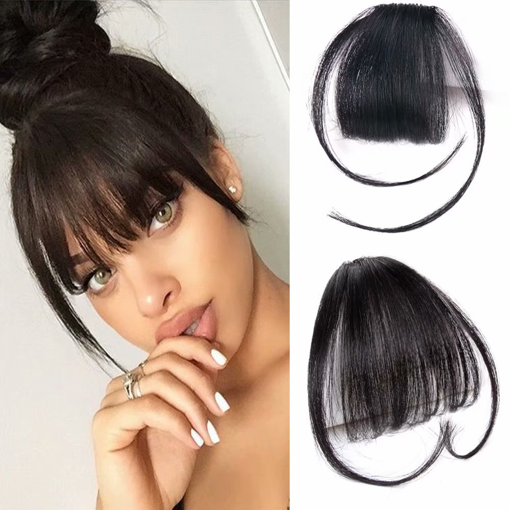 Amazon Clip In Human Hair Bangs One Piece 100 Real Human Hair