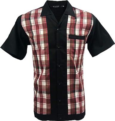 Rockabilly Fashions Hombres Casula Camisa Retro Bowling Classic Collar