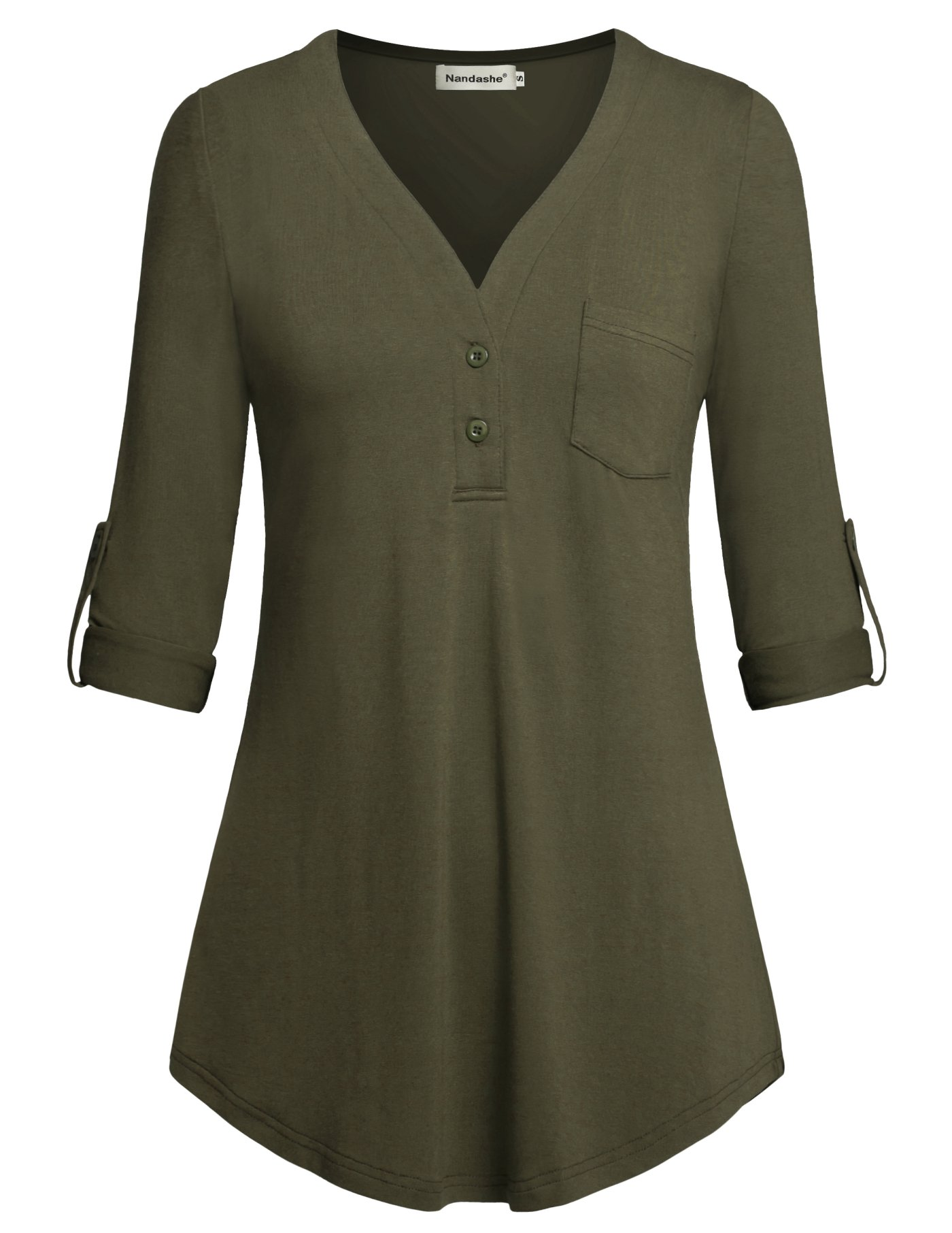 Nandashe Long Sleeve Blouse for Women Office, 2018 Fashion Country Style Elbow Length Hippie Shirts Peasant Blouse Pullover Sweatshirts with Front Button Mustard Army Green Color XL Plus Size