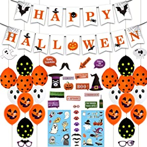 Halloween Party Decoration, Halloween Party Supplies Include Happy Halloween Banner, Latex Balloons,Photo Props, Tattoo Paste Halloween Theme Party Supplies for Halloween Decor