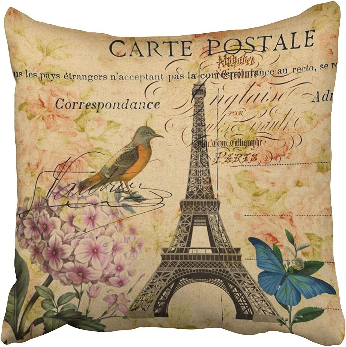 Amazon Com Spxubz Vintage Floral French Bird Paris Eiffel Tower Cotton Throw Pillow Cover Home Decor Nice Gift Indoor Pillowcase Standar Size Two Sides Home Kitchen
