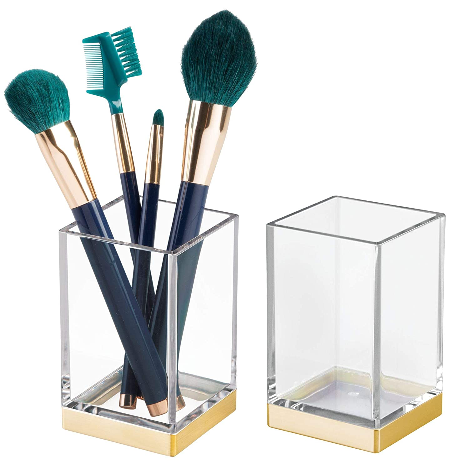 mDesign Modern Square Tumbler Cup Bathroom Vanity Countertops Mouthwash/Mouth Rinse, Storing Organizing Makeup Brushes, Eye Liners, Accessories - Slim Design, 2 Pack - Clear/Gold MetroDecor
