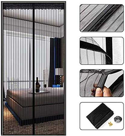 Puerta mosquitera magnética de malla negra de 40 x 84 pulgadas con imanes, mosquitos, mosquitos, mosquitos,