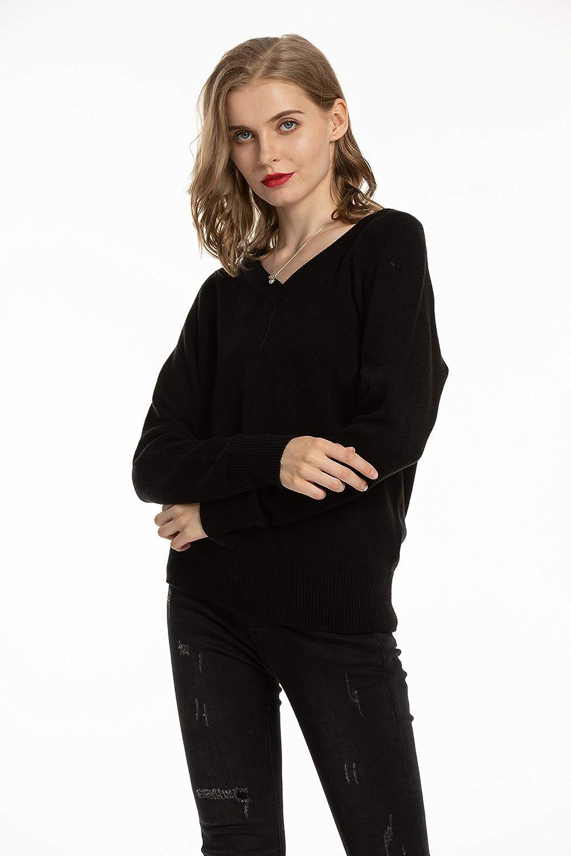 Woolen Bloom Jersey Punto Mujer Camisas Manga Larga Chaqueta de Punto Sueter Mujer B/ásico V Cuello Jerseys Primavera Verano Oto/ño Su/éter