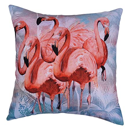 Decozen Decorative Throw Pillow with Insert 18 x18 inches in 1 Set Flamingos Print for Couch Sofa Bed Living Room Bedroom Farmhouse Patio