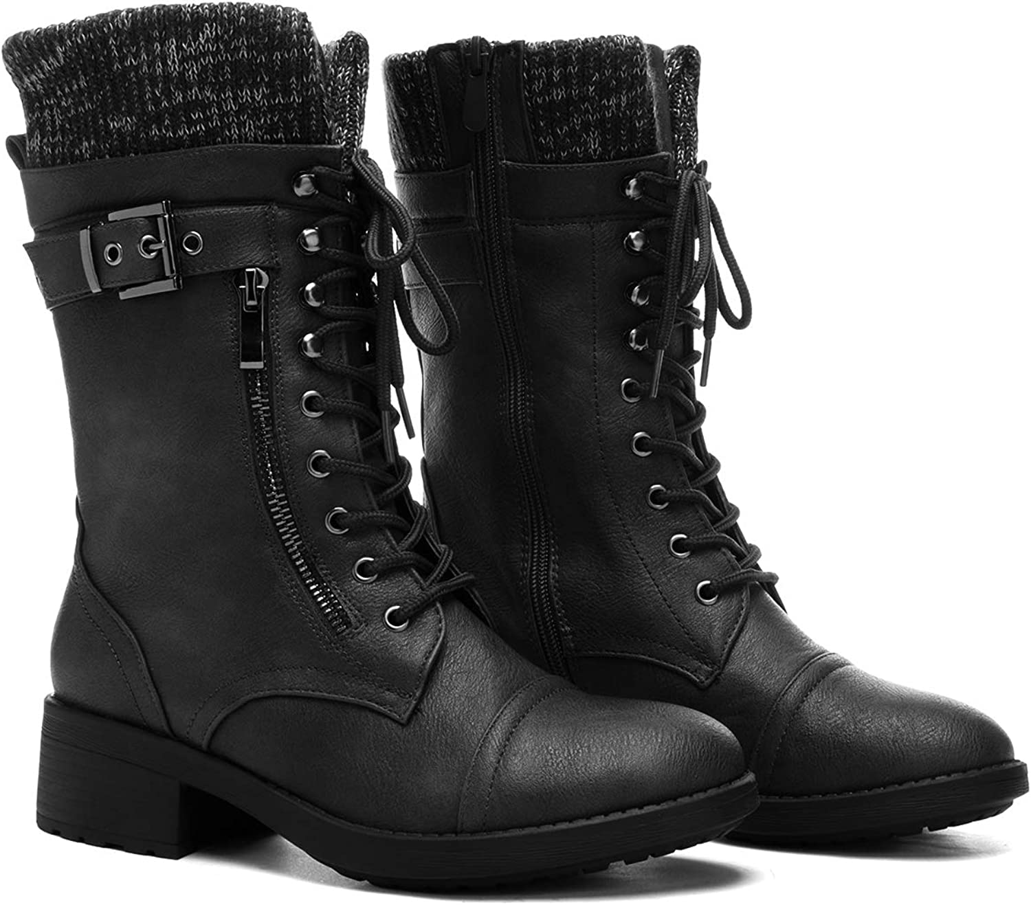 DREAM PAIRS Womens Mid Calf Combat Riding Boots