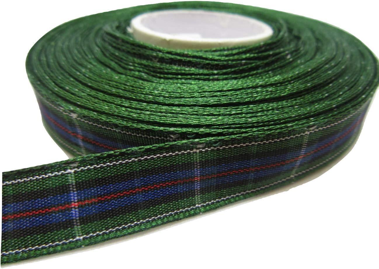1 rotolo di 16 millimetri x 25 metri di nastro scozzese verde e blu Mackenzie a doppio lato 16 mm