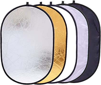 Portable Multi Disc Round Reflector Collapsible With Carrying Case For Photography Photo Studio Lighting With 2 Comfortable Grips 110cm Light Reflector for any Photography Situation 5-in-1 43 Inch