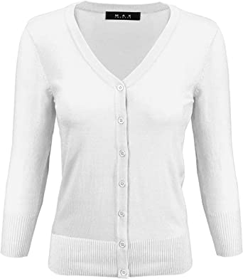 YEMAK Women's Knit Cardigan Sweater – 3/4 Sleeve V-Neck Basic Classic Casual Button Down Soft Lightweight Top (S-3XL)