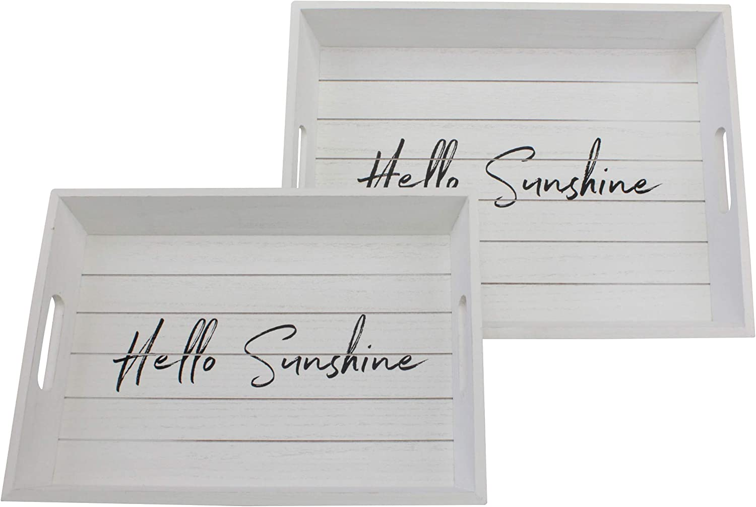 Stonebriar Rectangle Worn White Wooden Hello Sunshine Serving Tray Set with Handles