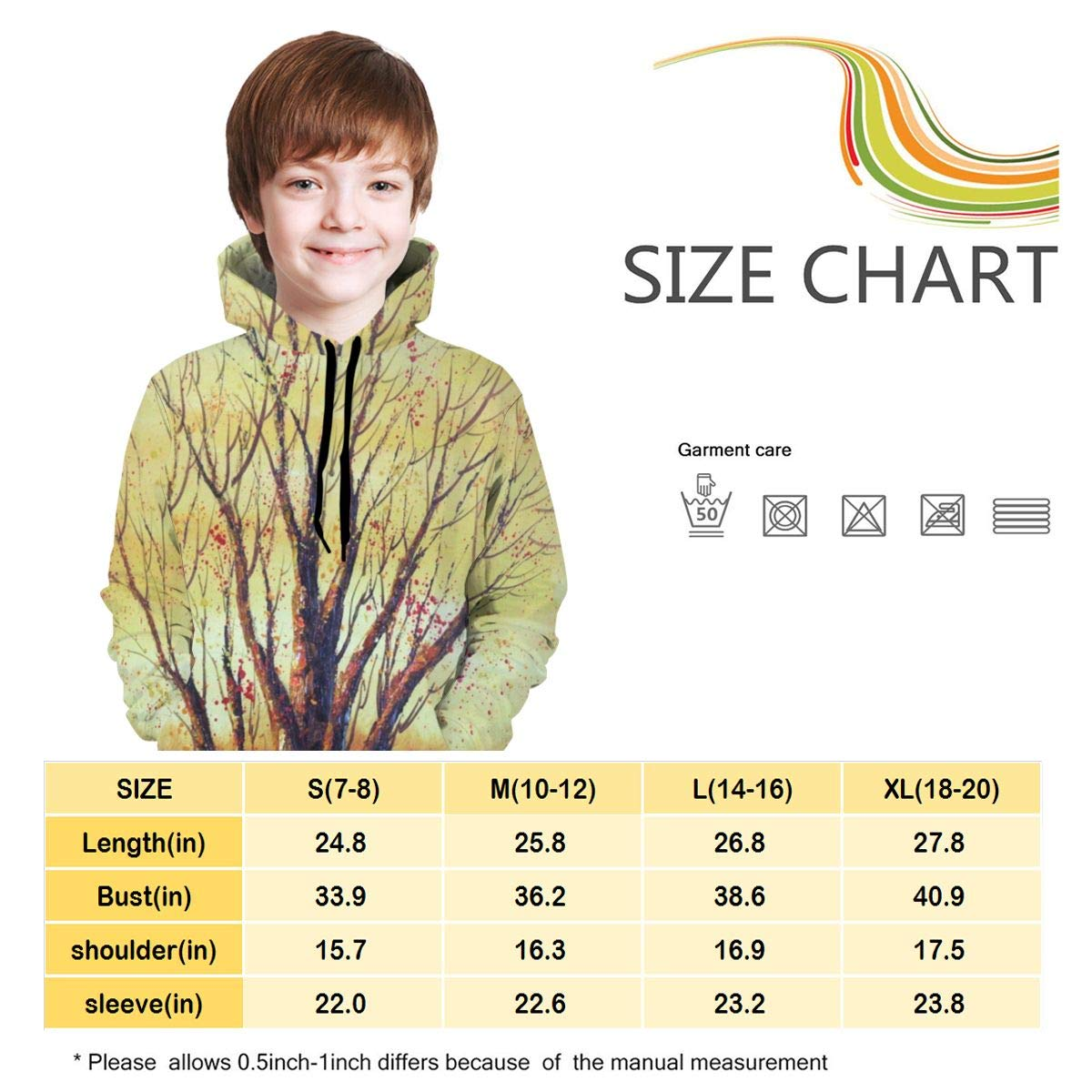 A5t445W Youth 3D Print Ancient Tree Hooded Sweatshirt