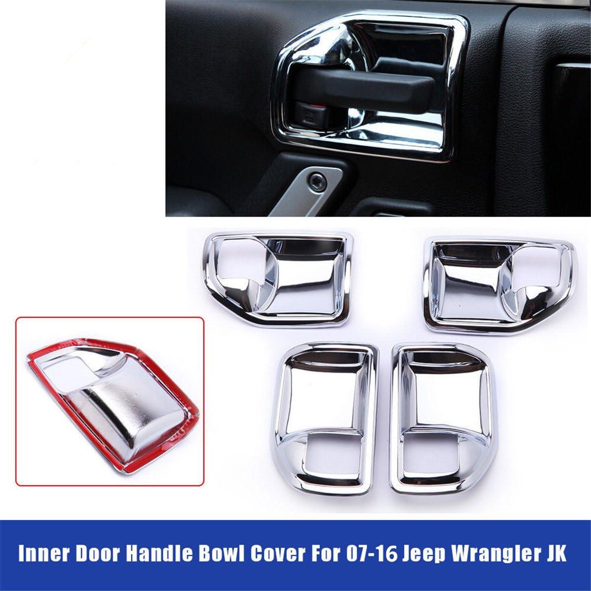 4PC Inside Chrome Door Handle Cover frame Trim For jeep Wrangler 4door 2011-2017