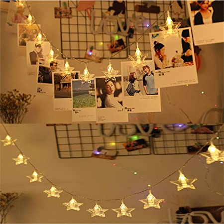 birthday party Warm White Photo Clip LED string lights 6m 40 photo clips lights Battery Powered for Christmas Day