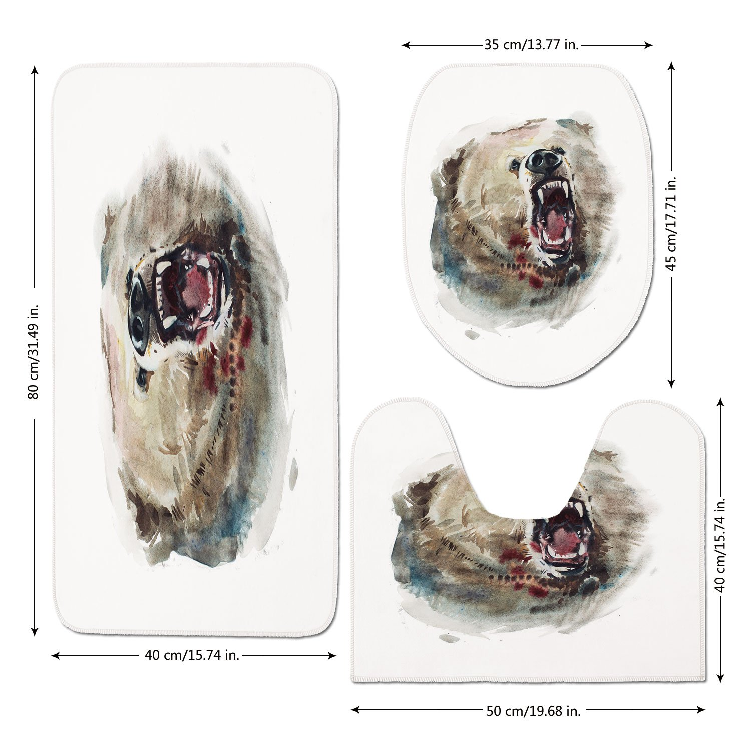 3 Piece Bathroom Mat Set,Bear,Watercolor-Drawing-Style-Angry-Looking-Wild-Animal-Aggressive-Vicious-Growl-Fangs-Decorative,Tan-Red-Black.jpg,Bath Mat,Bathroom Carpet Rug,Non-Slip