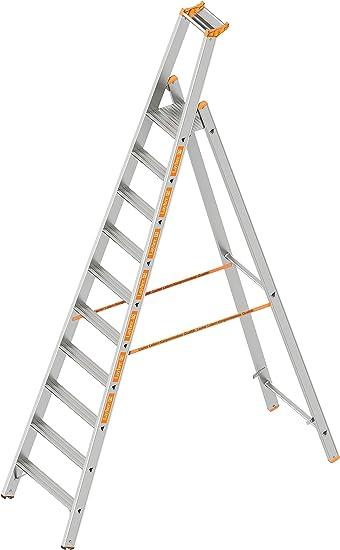 Layher 1064010 HYMER – Escalera de tijera (Topic con 10 Amplia peldaños, aluminio escalera plegable con porche, longitud 3.20 m: Amazon.es: Bricolaje y herramientas