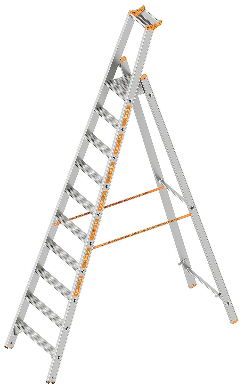Layher 1064010 Stufenstehleiter einseitig begehbar TOPIC mit 10 breiten Stufen Aluminiumleiter klappbar mit Podest L/änge 3.20 m