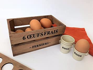 Small Brown Wooden 6 Egg Box Crate Vintage French Shabby Style