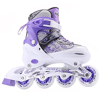 Sunkini Kids Quad Skates Inline Skate Adjustable Roller Boots Skating Shoes with Light Best for Adult