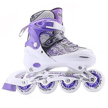 Sunkini Niños Patines en línea Patín en línea Botas de ruedas regulables Zapatos de patinaje con luz Ideal para niños adultos Niños Niñas Principiantes, ...