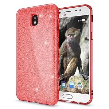 Coovertify Funda Purpurina Brillante Red Rose Samsung J5 2017, Carcasa roja resistente de Gel Silicona con Brillo Rojo Rosa para Samsung Galaxy J5 ...