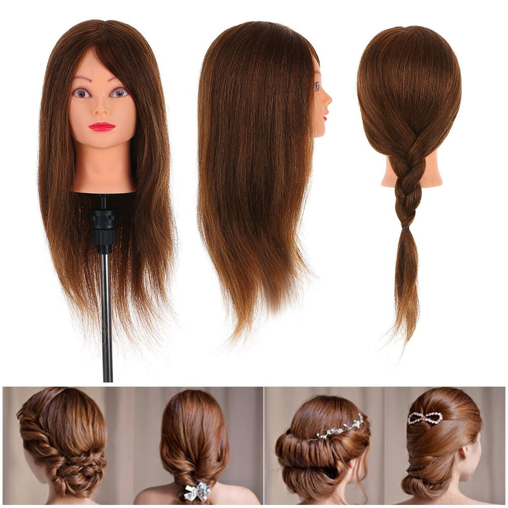 Anself 24 100% Real Human Hair Hairdressing Training Head Dummy Head Salon Head + Clamp Practice Head W2269-UBIUPC