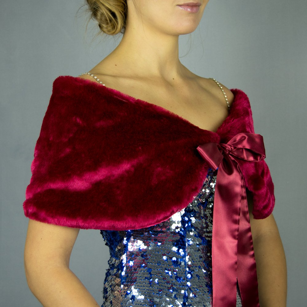 8d1e3847ac16 Faux fur wrap shrug stole bordeaux purple burgundy raspberry: Amazon.co.uk:  Handmade