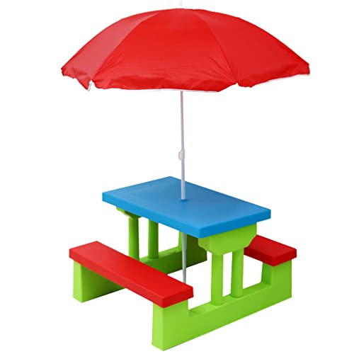 Oypla Kids Childrens Picnic Bench Table Set With Parasol Outdoor Garden Furniture