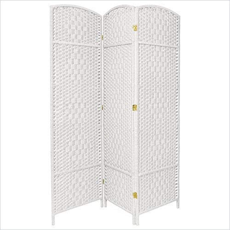 Oriental Furniture 6 ft. Tall Diamond Weave Fiber Room Divider , White , 3 Panel , 71