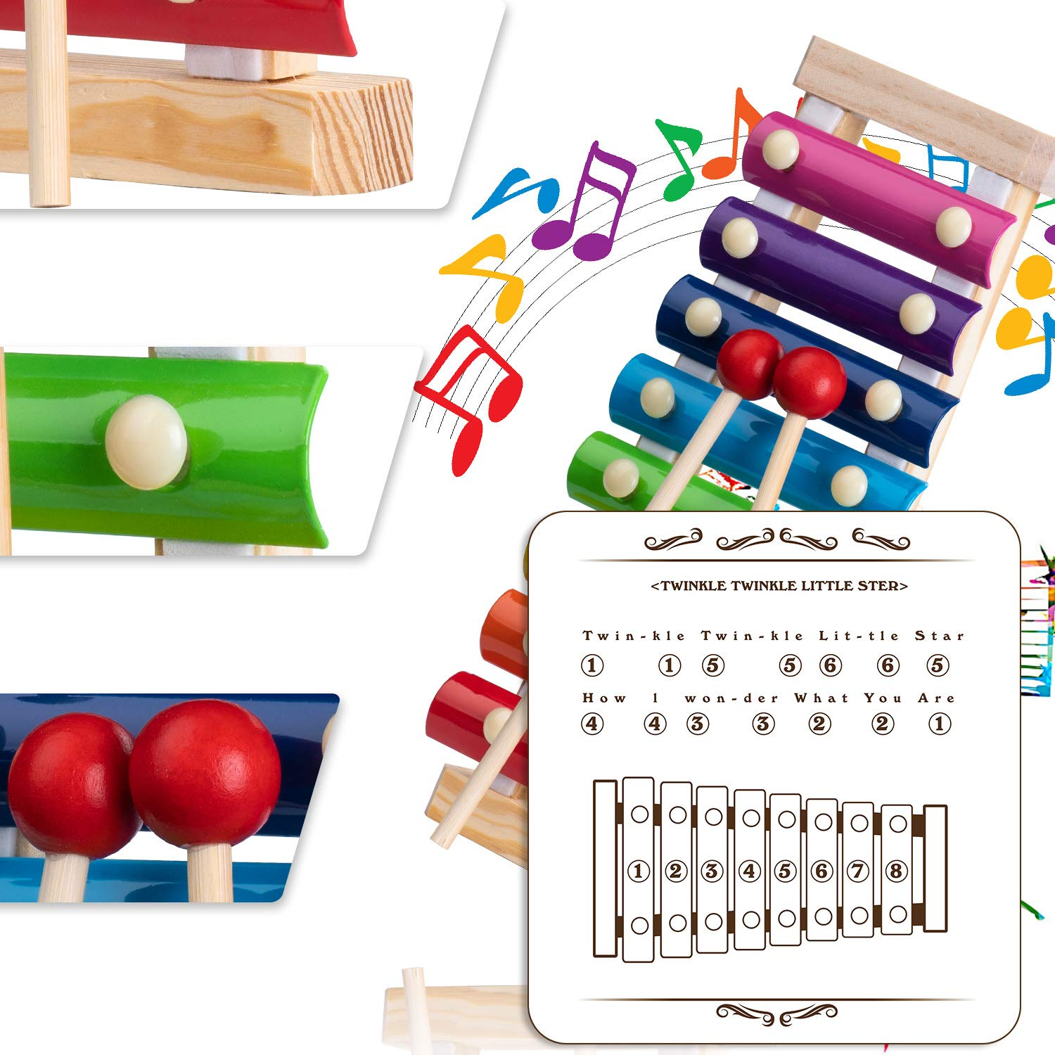 Xylophone for Kids Set Of Three Instrument Toys With Two Xylophone,One caterpillar toy-JiangChuan(2019 New Design),Best Birthday/Holiday Gift For Children's with Two Safe Mallets,Free Music socure by JiangChuan (Image #7)