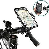 自転車 スマホホルダー マウント スタンド オートバイ バイク 振れ止め 脱落防止 二重保護 スイッチを干渉しない ブラケットとスタンドが分離可能 360度回転 角度調節 4-6.5インチのスマホに適用 Galaxy・Iphone・Nexus・Xperia・Huawei・GPSナビなどの多機種対応 装着簡単 18-35mm径のハンドルバーに対応
