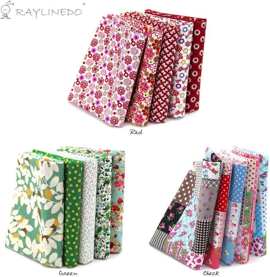"B06XDZ96G6 RayLineDo 15 Pcs Different Pattern Multi Color 100% Cotton Poplin Fabric Fat Quarter Bundle 18\"" x 22\"" Patchwork Quilting Fabric Green Red and Lattice Series 71bF2BphrRmL"