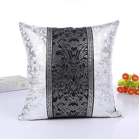 MeterMall Cojines Vintage Negro Blanco Floral Funda de cojín ...