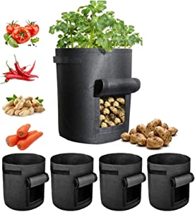 7 Gallon Grow Bags,Heavy Duty Plant Growing Bags,Aeration Farbic Pots with Flap,Smart Pots,Potato Grow Bag Pots with Window,Gardening Planting Bags for Tomato Vegetable,Large Grow Container 5 Pack