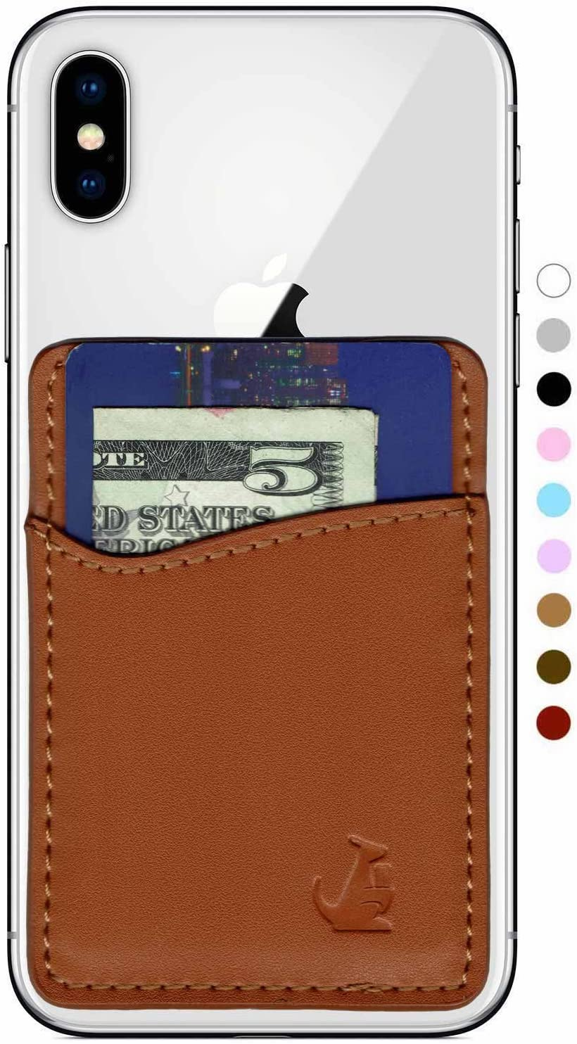 WALLAROO Premium Leather Phone Card Holder Stick On Wallet for iPhone and Android Smartphones Kangaroo (Brown Leather) by Wallaro