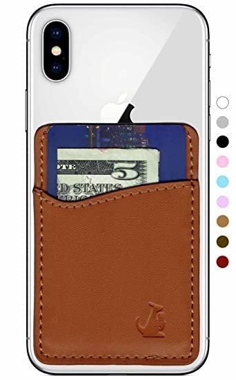 Phone Card Holder >> Amazon Com Premium Leather Phone Card Holder Stick On Wallet For